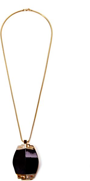 House Of Lavande Brett Benson Valentino Snake Chain Necklace with A Blacklucite Pendant Diamante Accent - Lyst