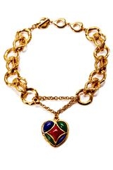 House Of Lavande Domont Yves Saint Laurent Gold Chain Link Necklace with Drop Heart Pendant - Lyst