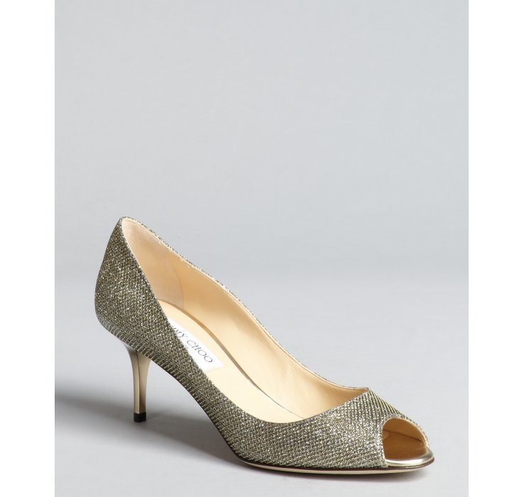 Lyst Jimmy Choo Silver And Gold Glitter Leather Isabel
