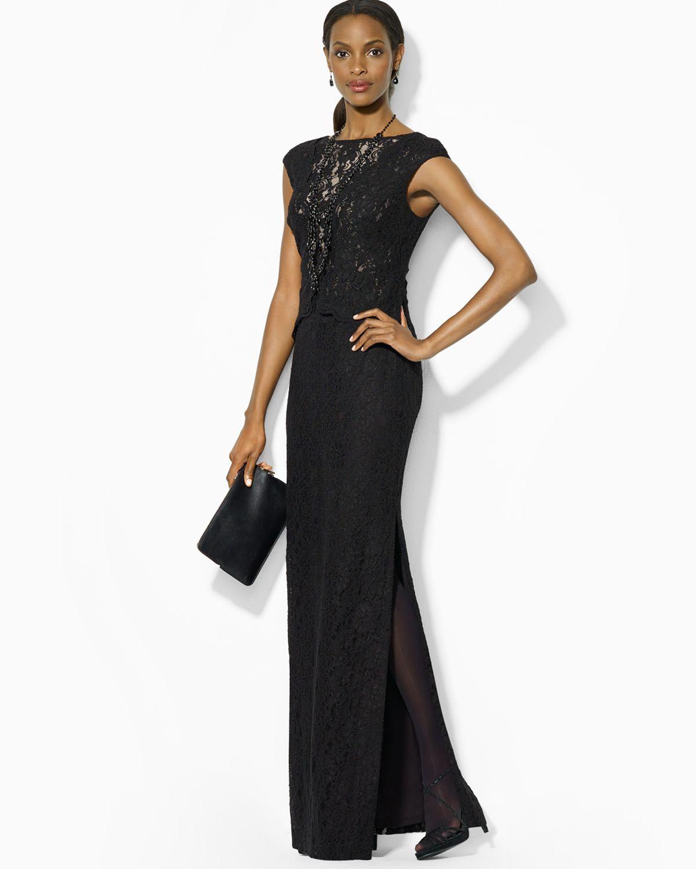 lauren by ralph lauren cap sleeve lace gown in black lyst. Black Bedroom Furniture Sets. Home Design Ideas