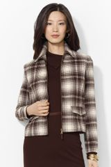 Lauren by Ralph Lauren Wool Fullzip Plaid Jacket - Lyst