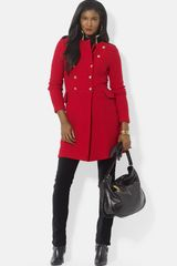 Lauren by Ralph Lauren Wool Blend Officers Coat - Lyst