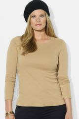 Lauren by Ralph Lauren Crewneck Cotton Top - Lyst