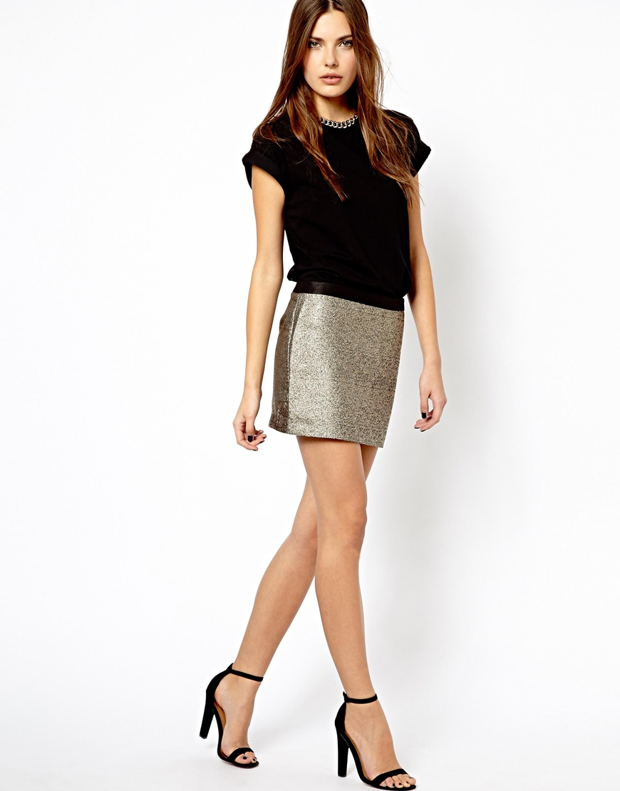 mango metallic mini skirt in metallic lyst