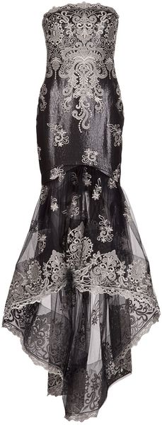 Marchesa Embroidered Tulle Skirt Gown - Lyst