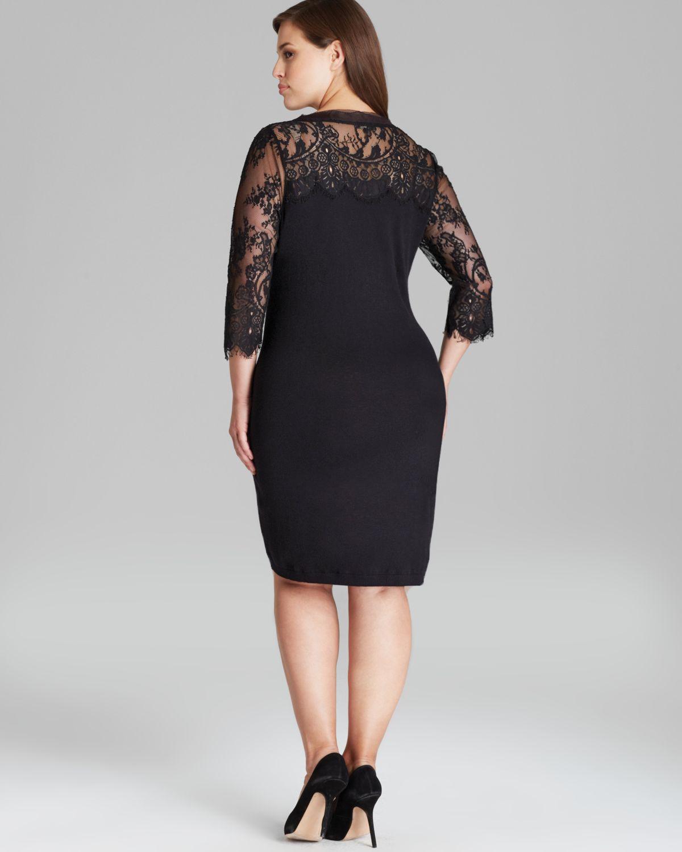 Marina Rinaldi Gattino Knit Dress With Lace Sleeves In Black Lyst