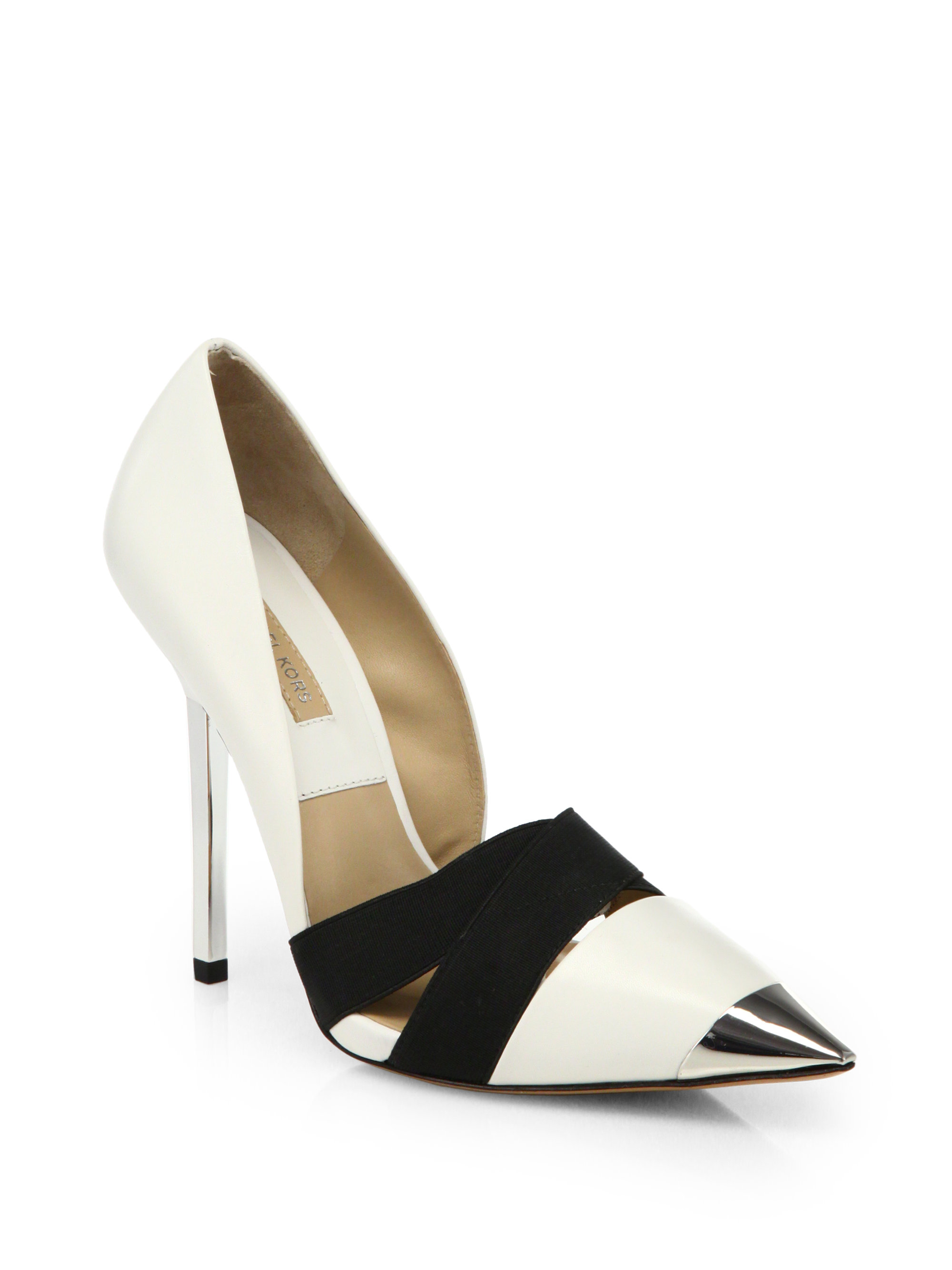 910e346efae Lyst - Michael Kors Ana Metallicheel Pumps in White