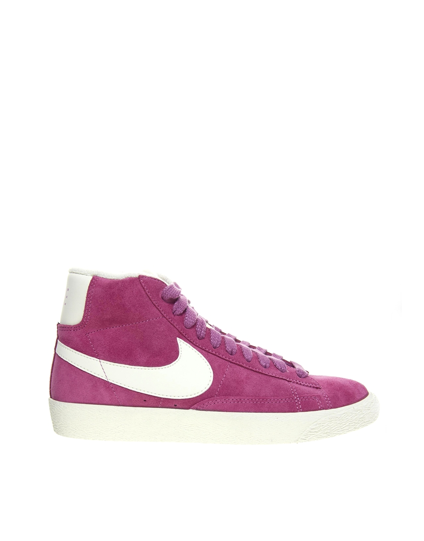 lyst nike blazer pink high top trainers in purple