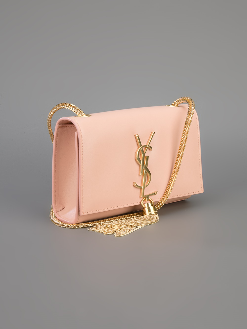 Saint Laurent Small Cassandre Tassel Shoulder Bag In Pink
