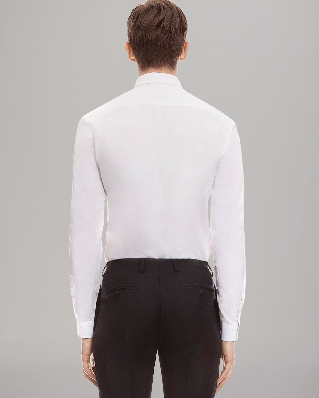 Sandro solid dress shirt slim fit in white for men lyst for Dress shirt fitted vs slim