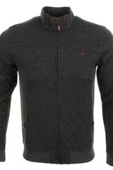 Ted Baker Deew Zip Through Jumper Charcoal Marl - Lyst