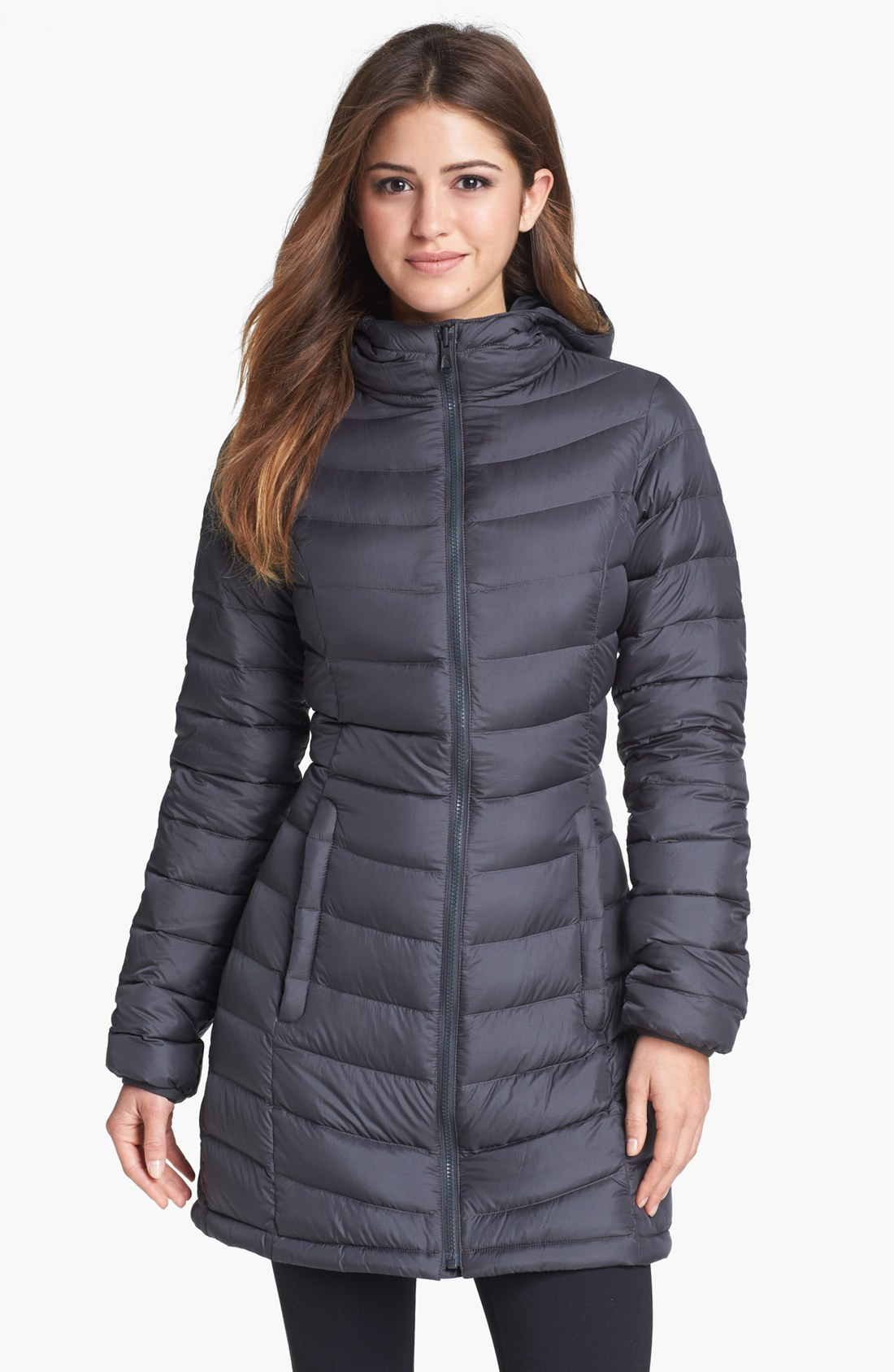 The North Face Jenae Hooded Down Jacket In Gray Lyst