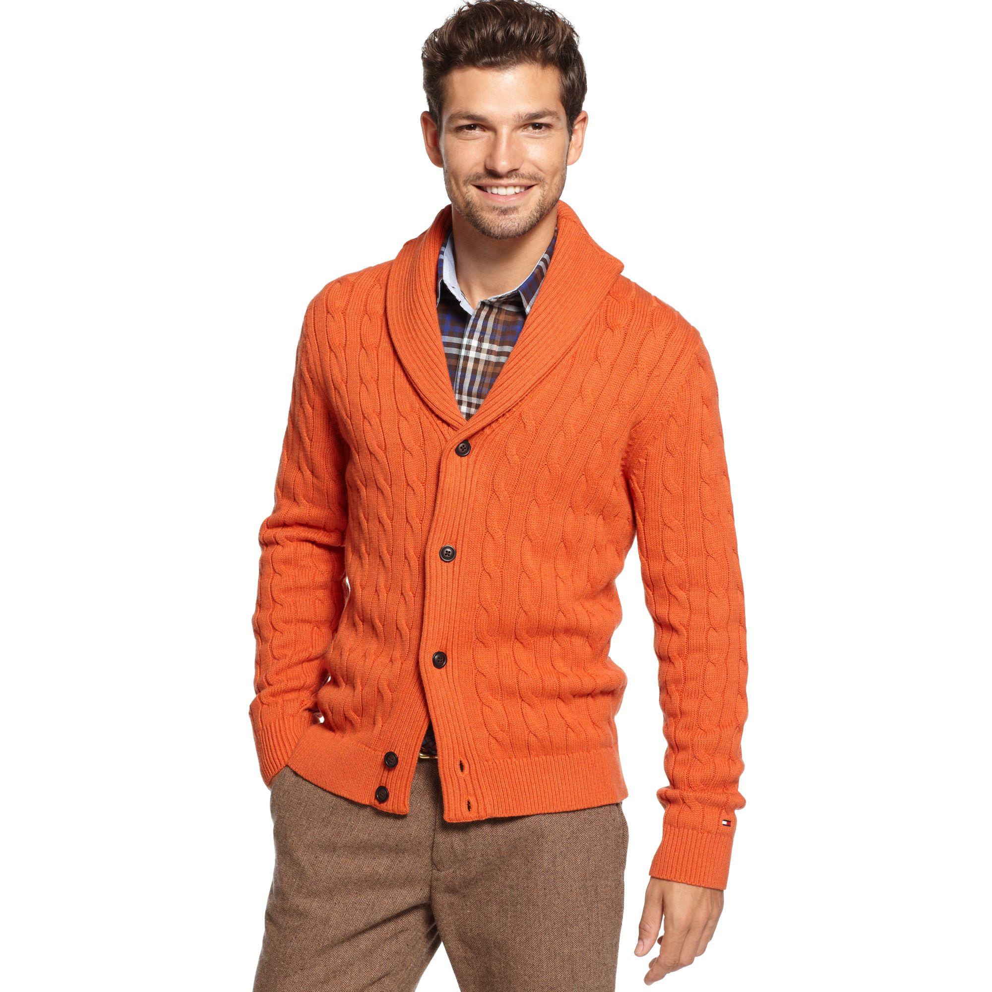 tommy hilfiger brant shawl collar sweater in orange for. Black Bedroom Furniture Sets. Home Design Ideas