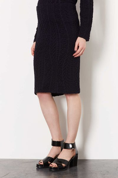 topshop maternity cable pencil skirt in blue navy blue