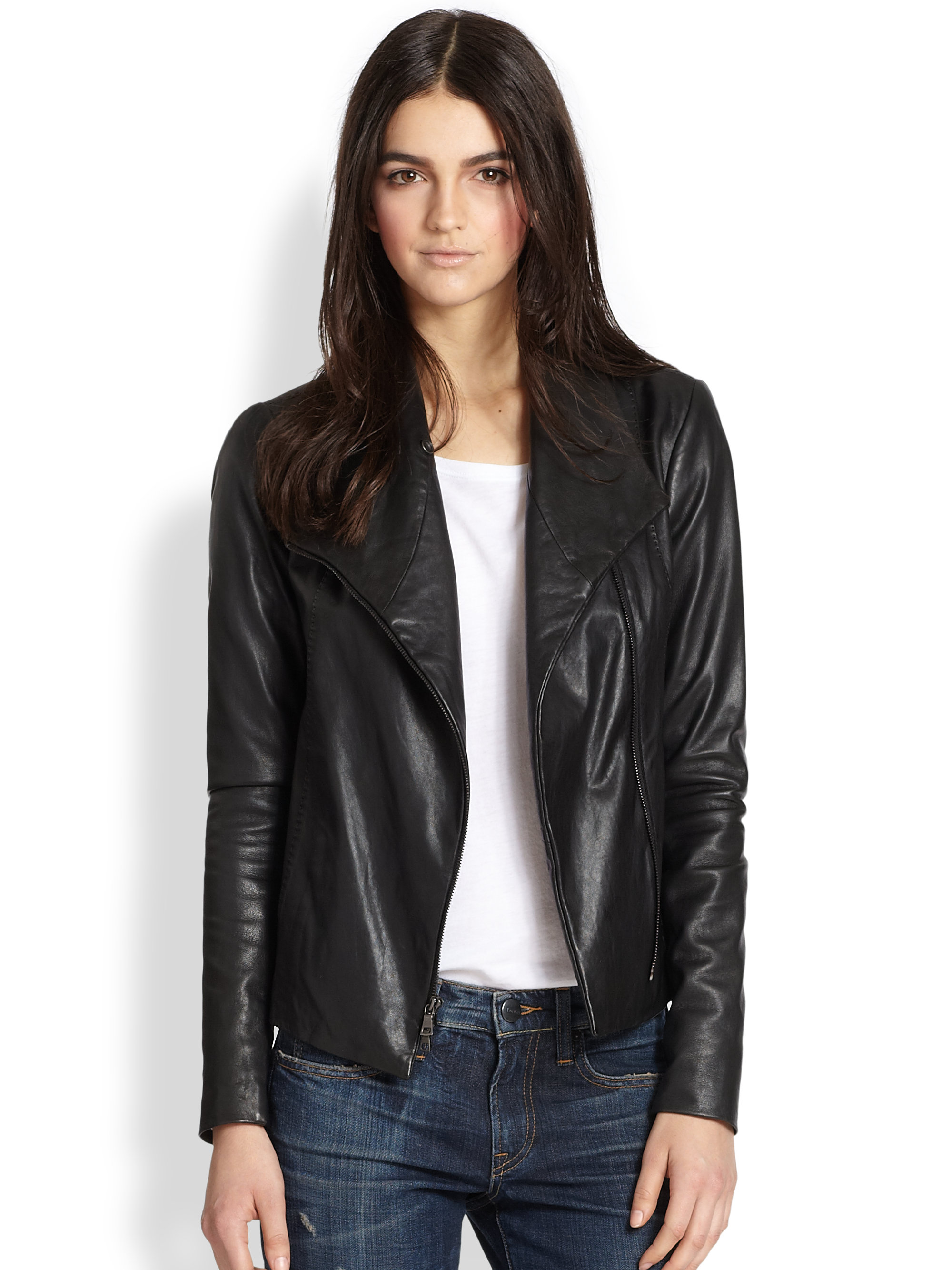 Vince Leather Scuba Jacket In Black Lyst
