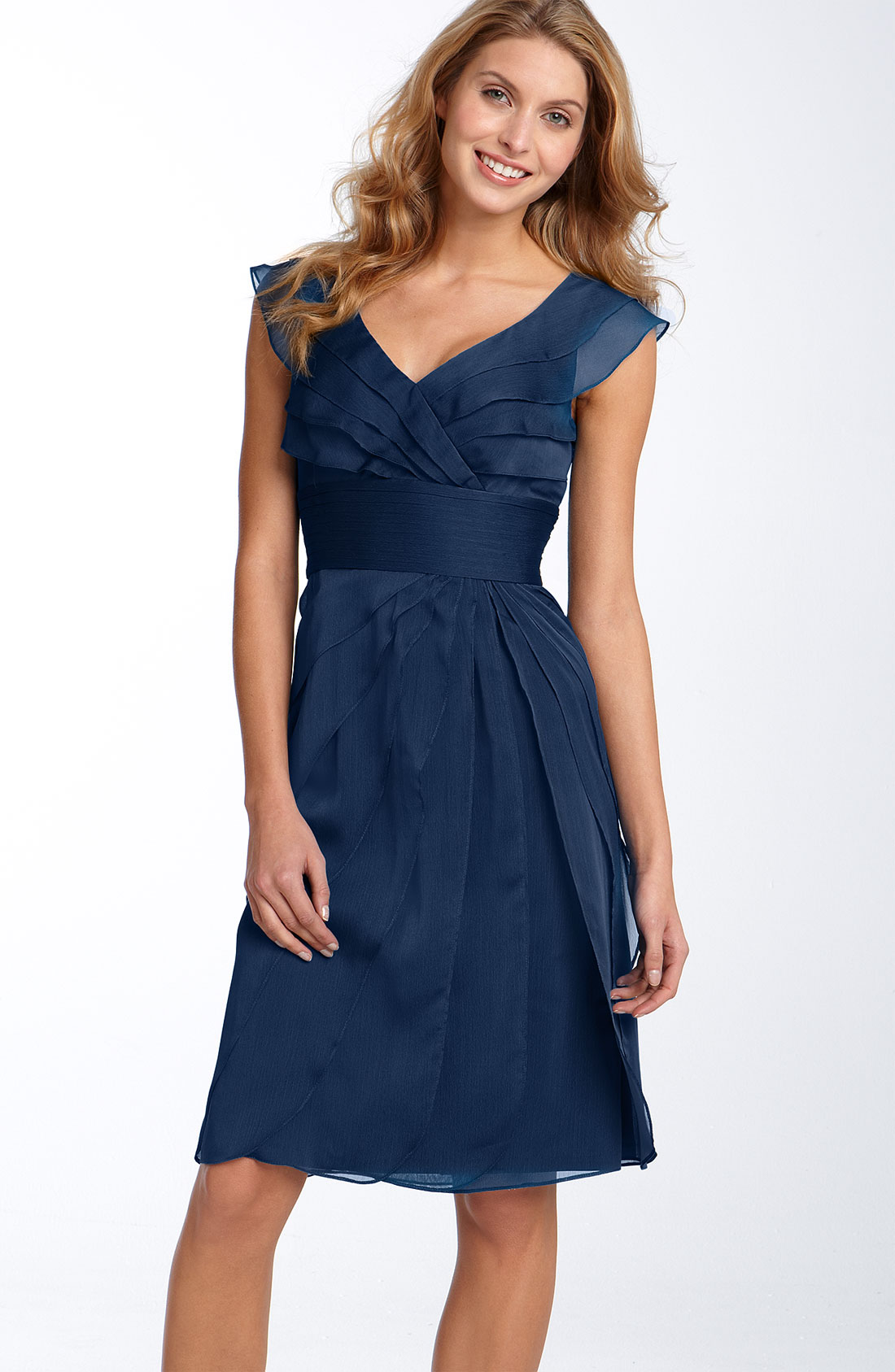 Adrianna Papell Tiered Chiffon Dress in Blue (navy) | Lyst