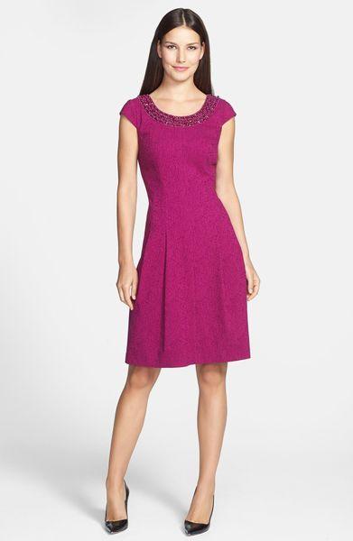 Adrianna Papell Embellished Neck Crinkled Fit Flare Dress