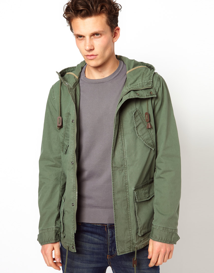 Asos Hooded Jacket in Green for Men | Lyst