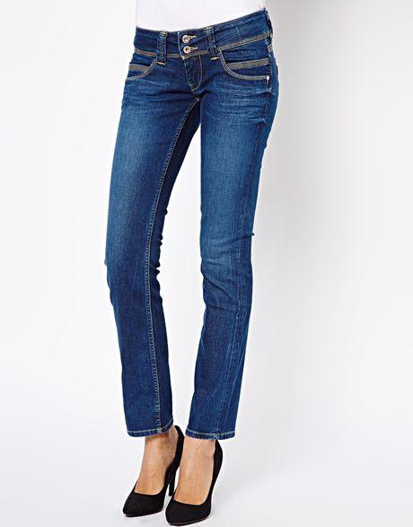 pepe jeans venus straight leg jeans in blue midblue lyst. Black Bedroom Furniture Sets. Home Design Ideas