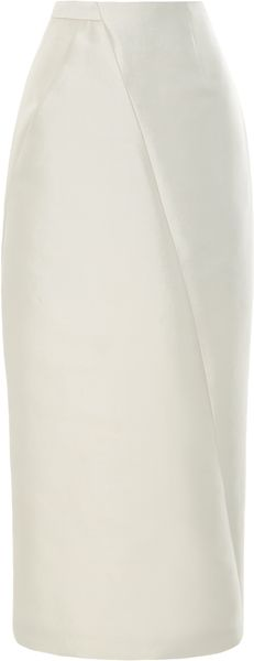 Bibhu Mohapatra Ivory Silk Twill Pencil Skirt - Lyst