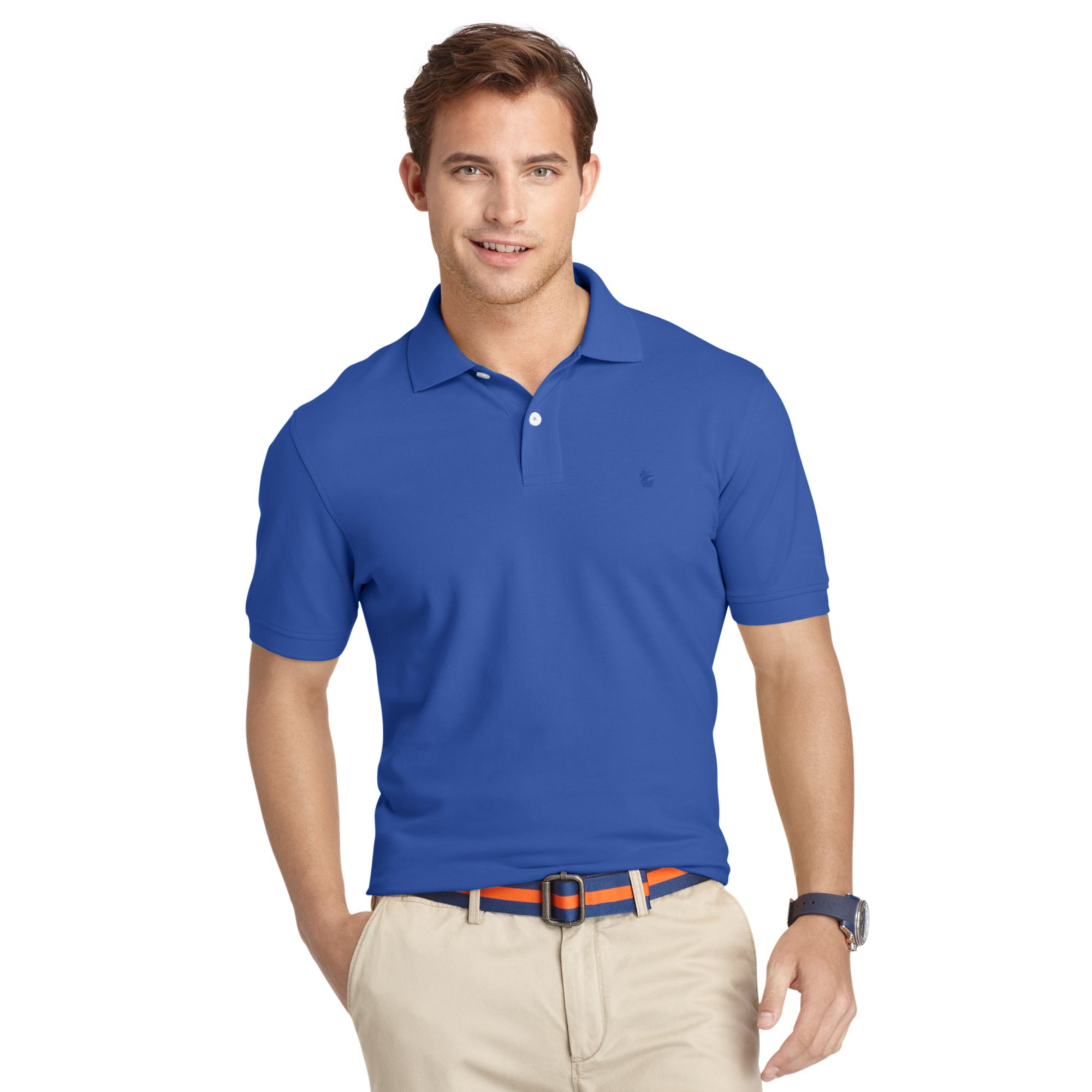 Izod Big And Tall Shirt Oxford Pique Polo Shirt In Blue