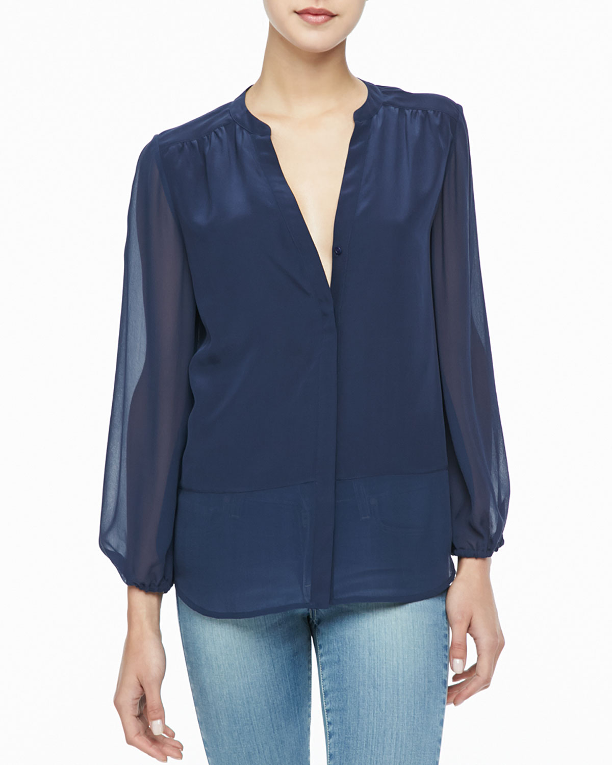 Unique Lyst - Joie Mercina Sheer Silk Blouse in Blue VV15