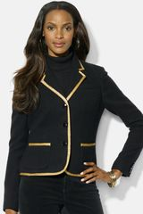 Lauren by Ralph Lauren Metallic Trim Blazer - Lyst