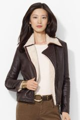 Lauren by Ralph Lauren Full zip Faux leather Jacket - Lyst