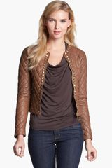 Michael by Michael Kors Michael Kors Studded Quilted Leather Jacket - Lyst