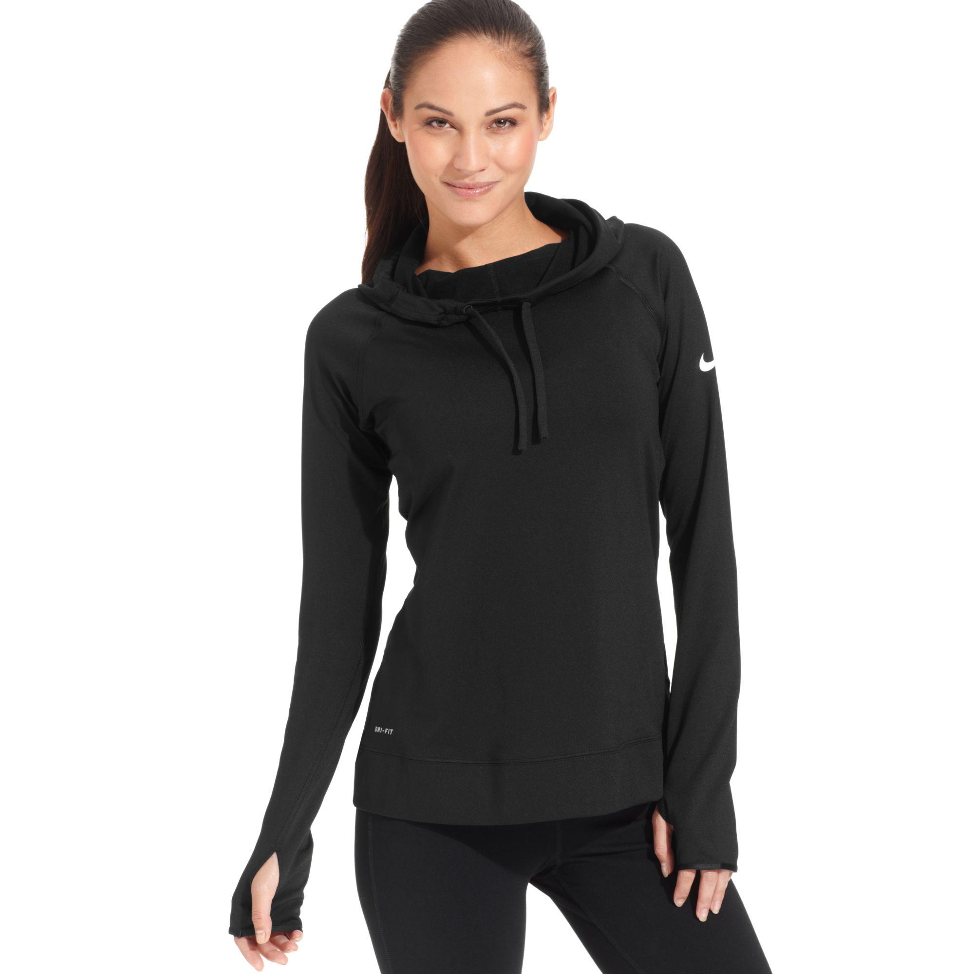 Nike Pro Hyperwarm Drifit Longsleeve Hoodie In Black Lyst