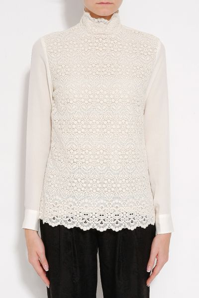 White Lace High Neck Blouse 34
