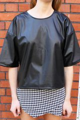 Glassworks Leather Look Oversized Tshirt - Lyst