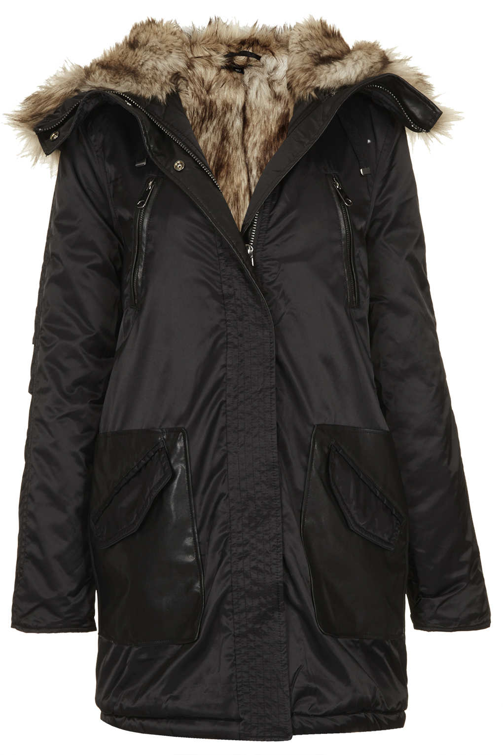 Topshop Fur Lined Long Parka Jacket in Black | Lyst