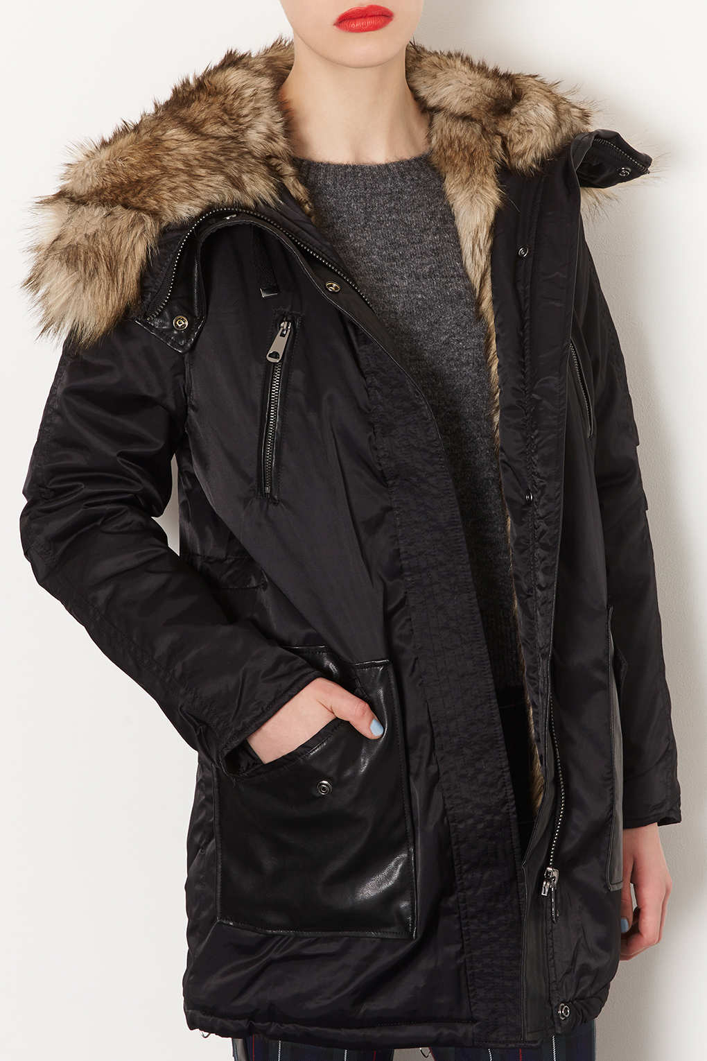 Lyst Topshop Fur Lined Long Parka Jacket In Black