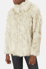 Topshop Margot Faux Fur Coat - Lyst