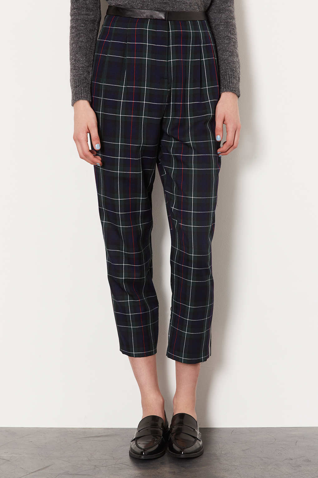 Lyst Topshop Tartan Check Balloon Trousers In Green