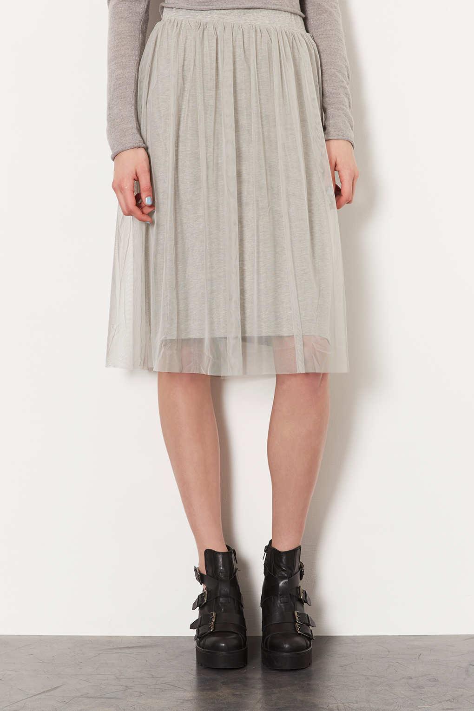 Lyst Topshop Grey Midi Tulle Skirt In Gray