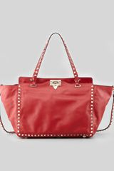Valentino Rockstud Medium Tote Bag Red - Lyst