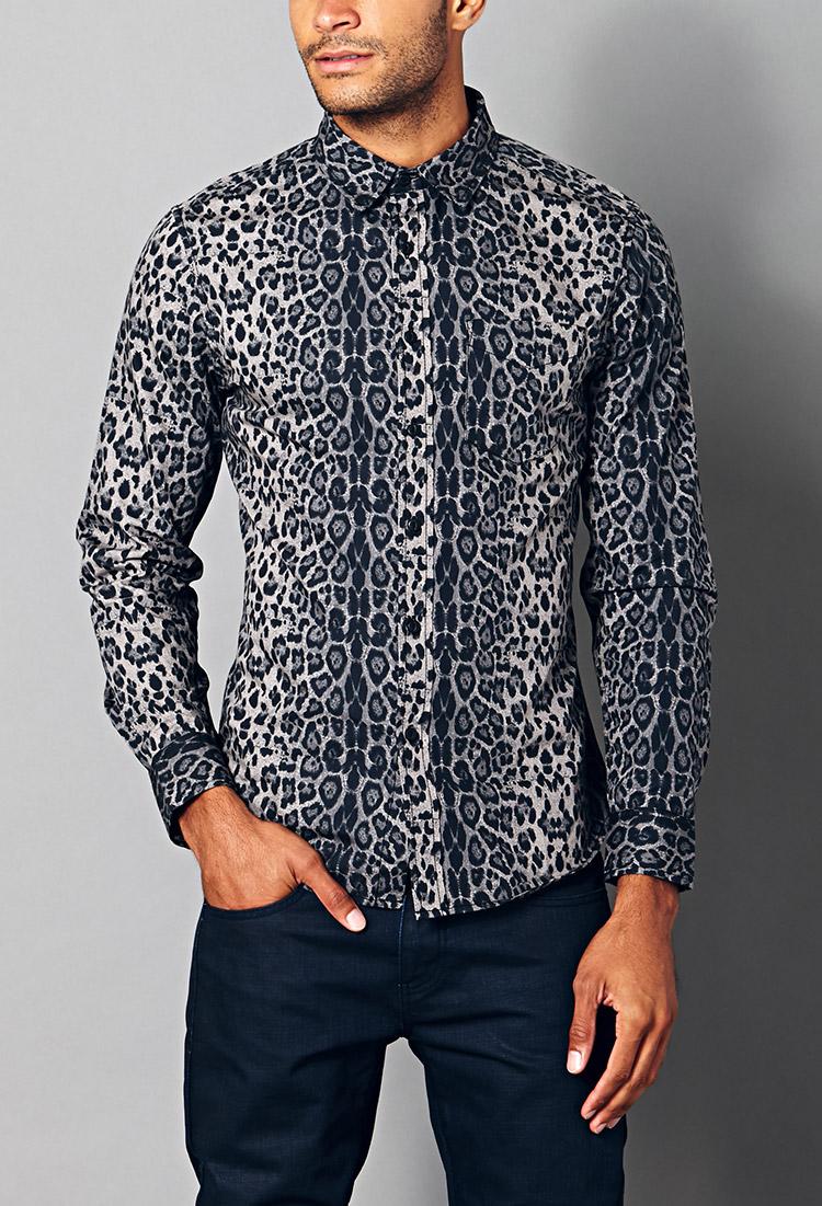 ac2468db03 Lyst - Forever 21 Slim Fit Leopard Print Shirt in Black for Men
