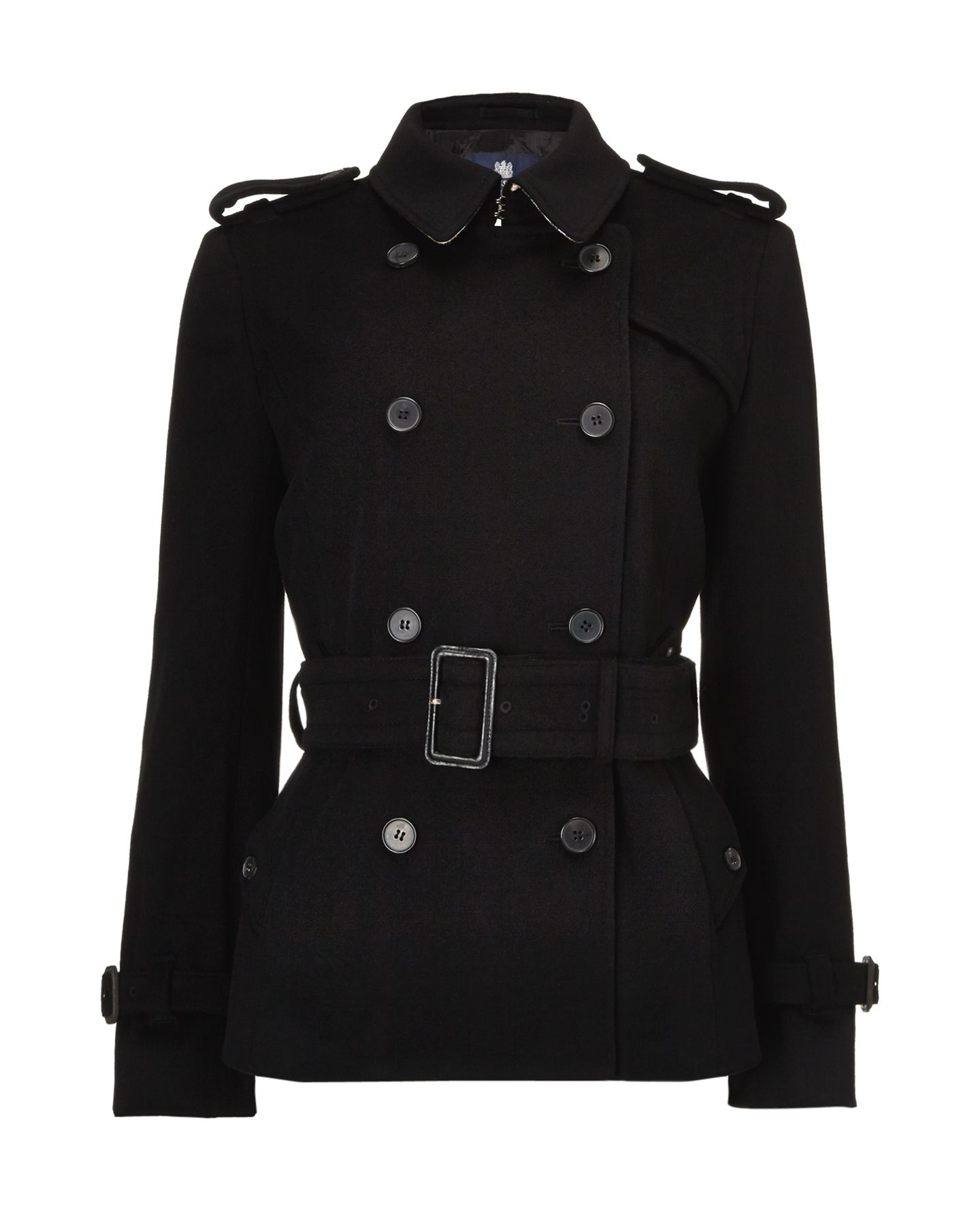 Aquascutum Belted Double Breasted Wool Trench Coat In