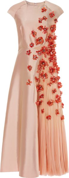 Bibhu Mohapatra 3d Flower Embellished Twill Dress with Chiffon Inset - Lyst