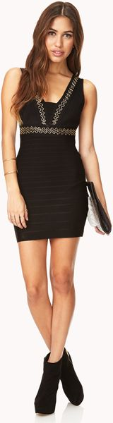 Forever 21 Bold Bodycon Bandage Dress in Gold (BLACK/GOLD ... - photo #46