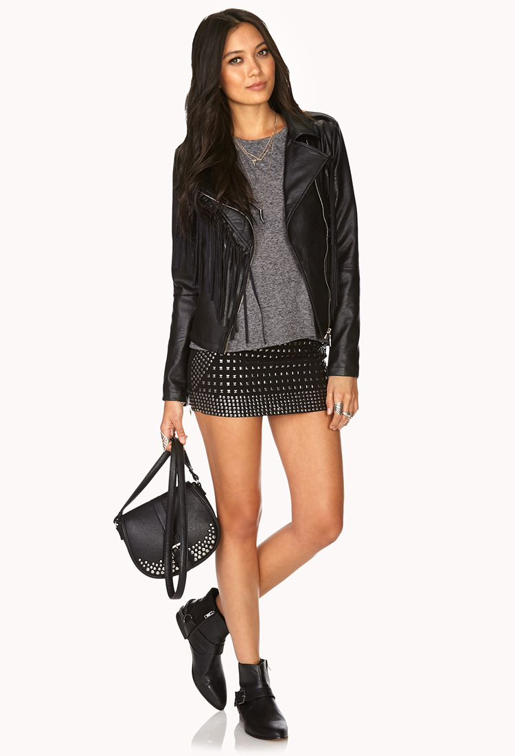 ed67ea620b05ea Forever 21 Studded Out Mini Skirt in Metallic - Lyst