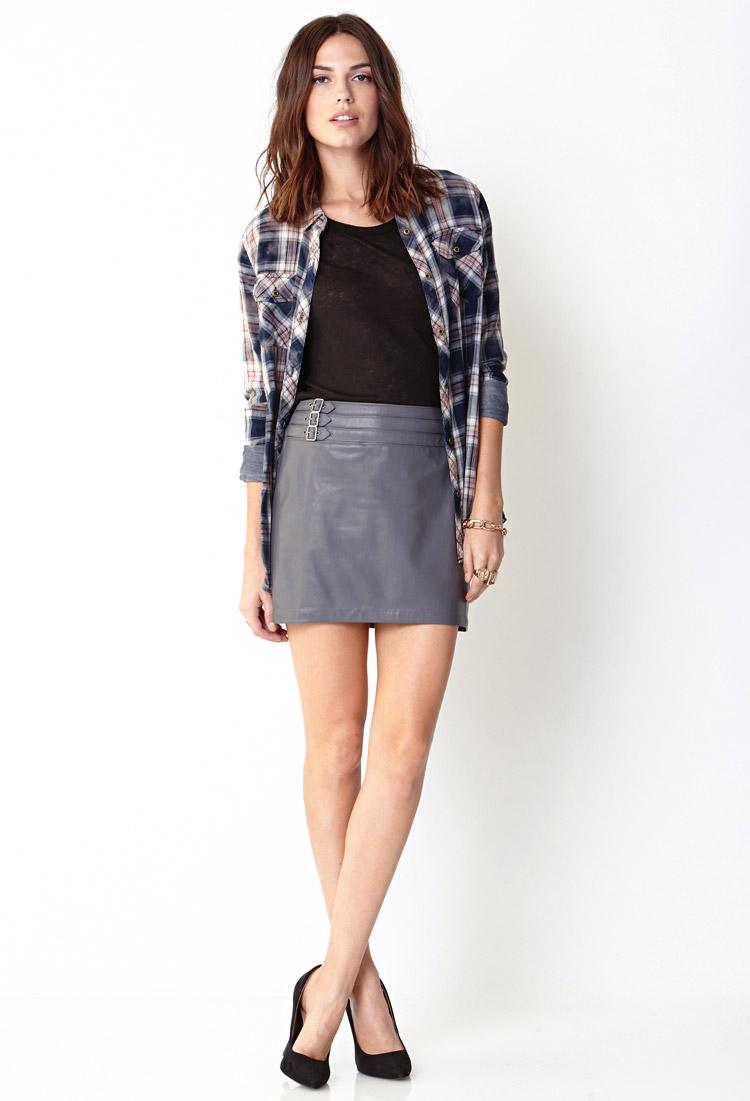forever 21 sleek faux leather mini skirt in gray lyst