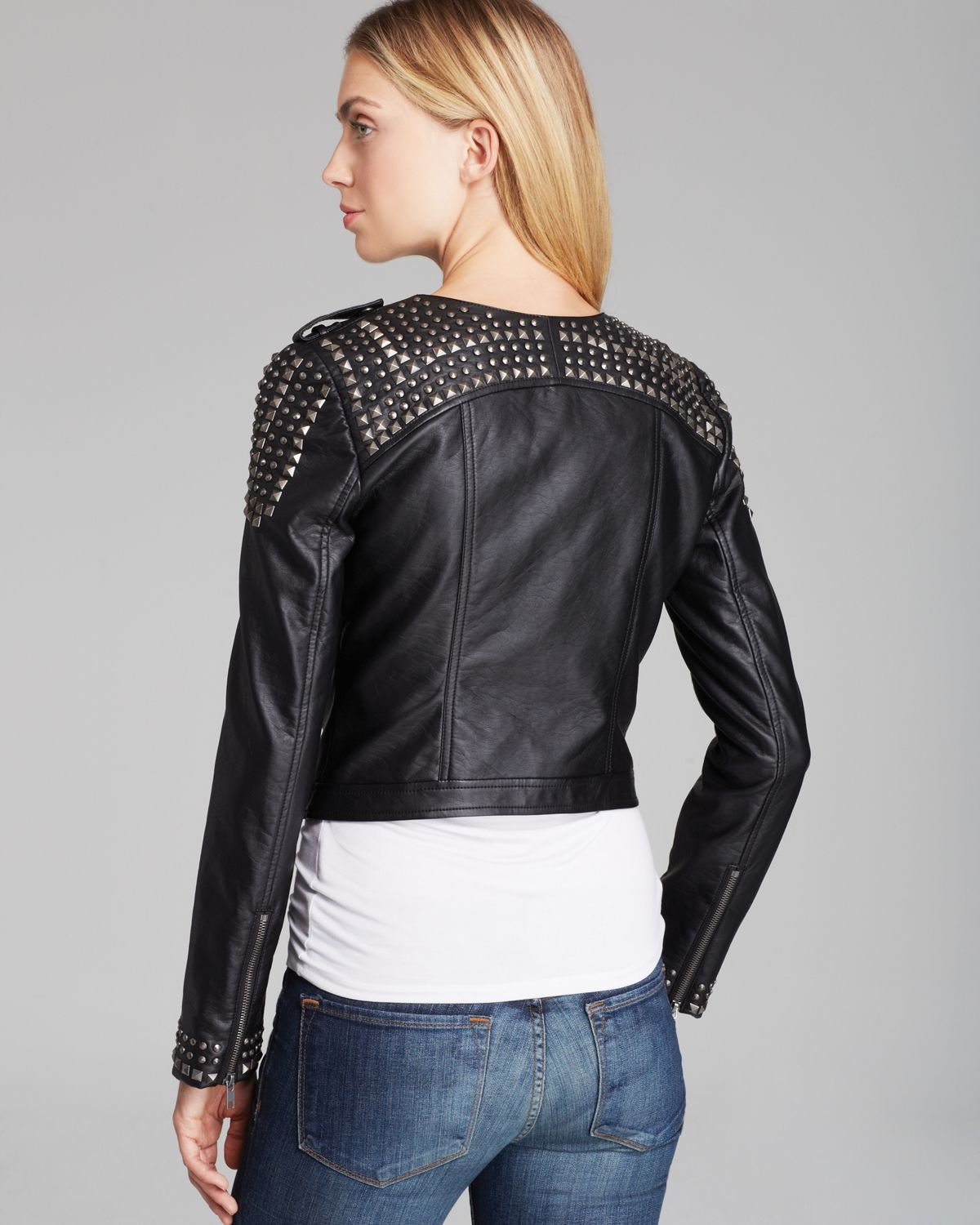 Lyst Guess Jacket Faux Leather Moto In Black