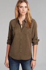 Guess Shirt Devon Slub Military - Lyst