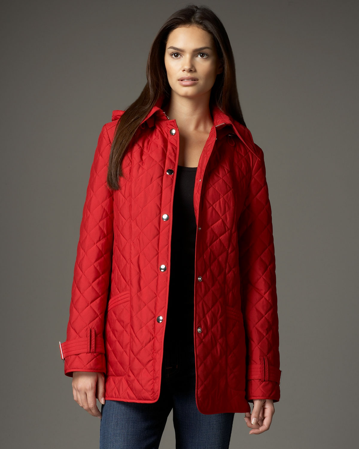 Neiman marcus Belted Lightweight Quilted Jacket in Red | Lyst
