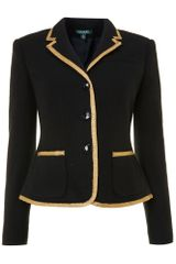 Lauren by Ralph Lauren Three Button Jacket with Gold Trim - Lyst