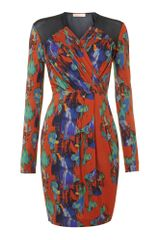 Mw Matthew Williamson Long Sleeved Blurred Print Dress - Lyst