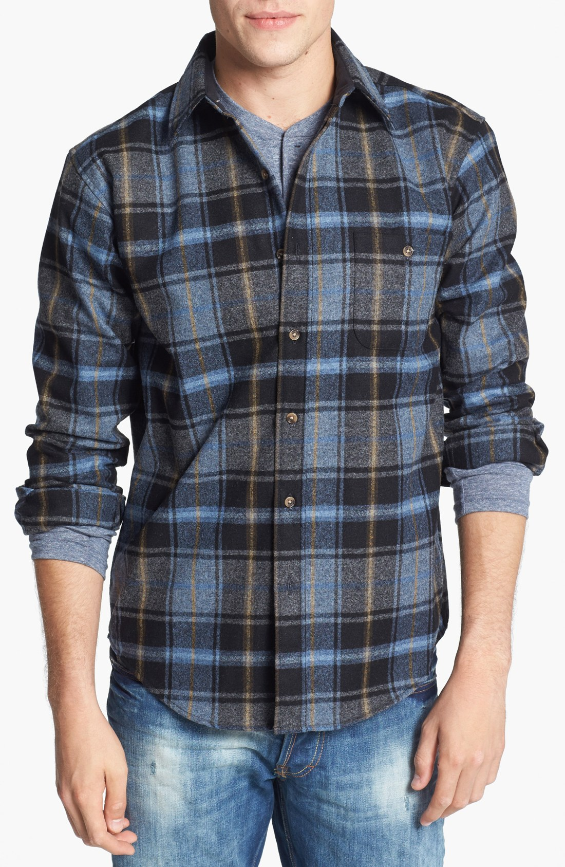 Pendleton trail fitted wool flannel shirt with elbow for How to wash flannel shirts